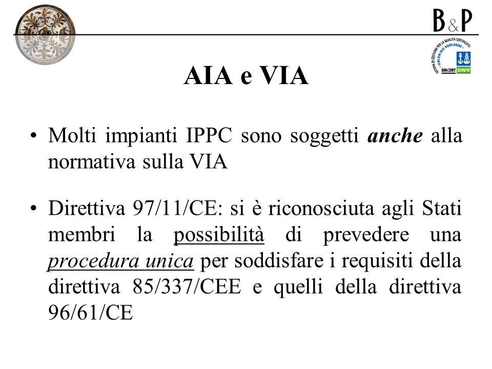AIA e VIAMolti impianti IPPC sono soggetti anche alla normativa sulla VIA.