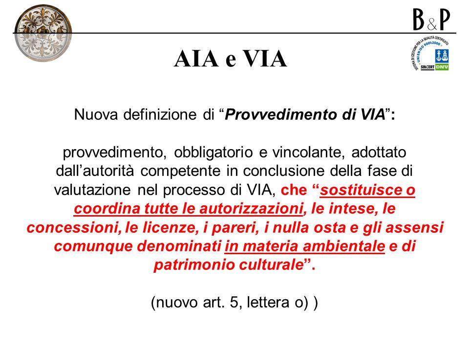 Nuova definizione di Provvedimento di VIA :