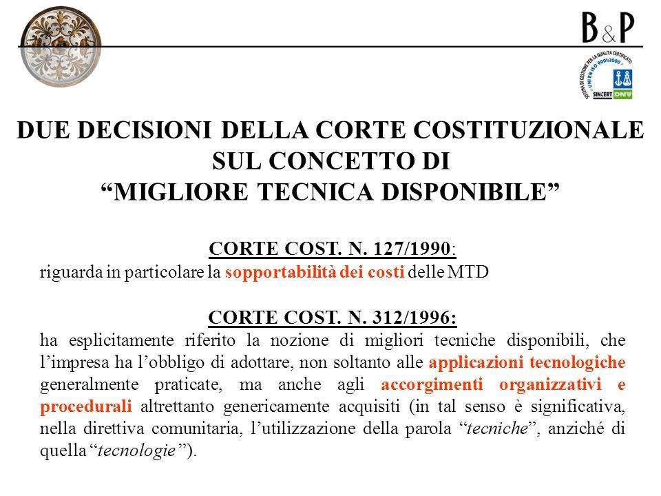 DUE DECISIONI DELLA CORTE COSTITUZIONALE SUL CONCETTO DI MIGLIORE TECNICA DISPONIBILE