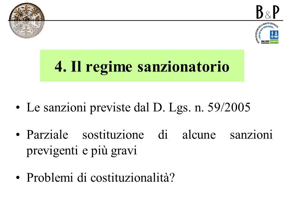 4. Il regime sanzionatorio