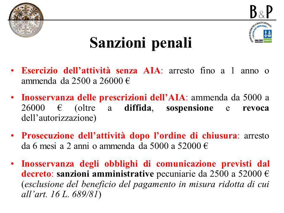Sanzioni penali Esercizio dell'attività senza AIA: arresto fino a 1 anno o ammenda da 2500 a 26000 €