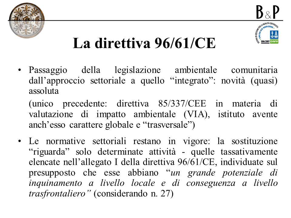La direttiva 96/61/CE Passaggio della legislazione ambientale comunitaria dall'approccio settoriale a quello integrato : novità (quasi) assoluta.