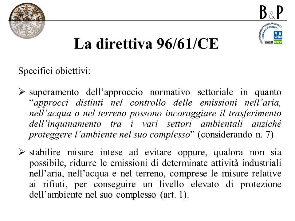 La direttiva 96/61/CE Specifici obiettivi: