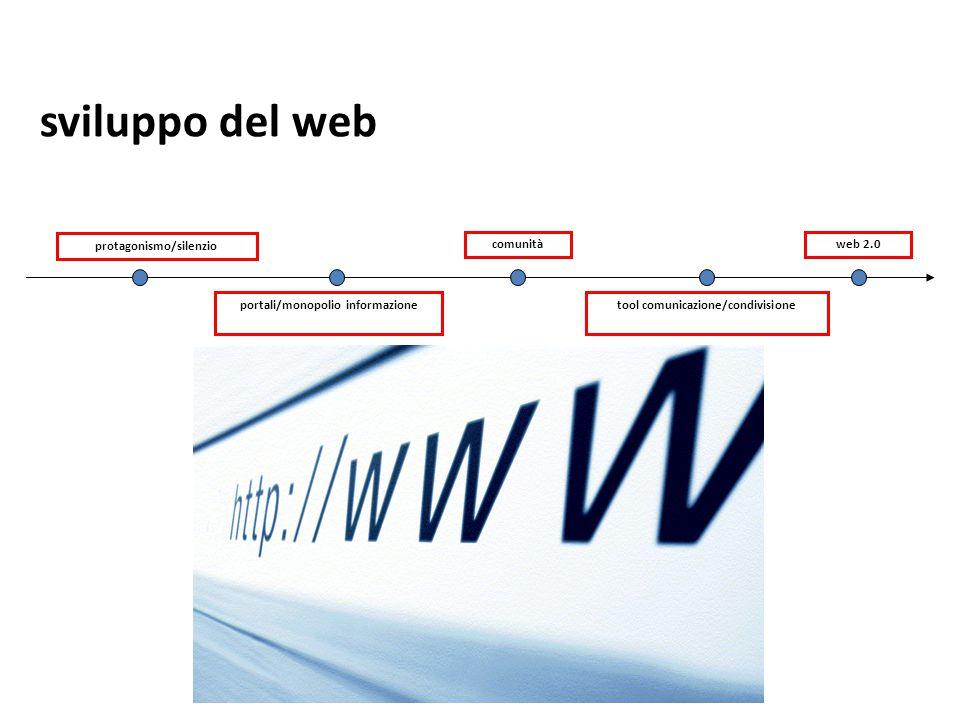 sviluppo del web 38 protagonismo/silenzio comunità web 2.0