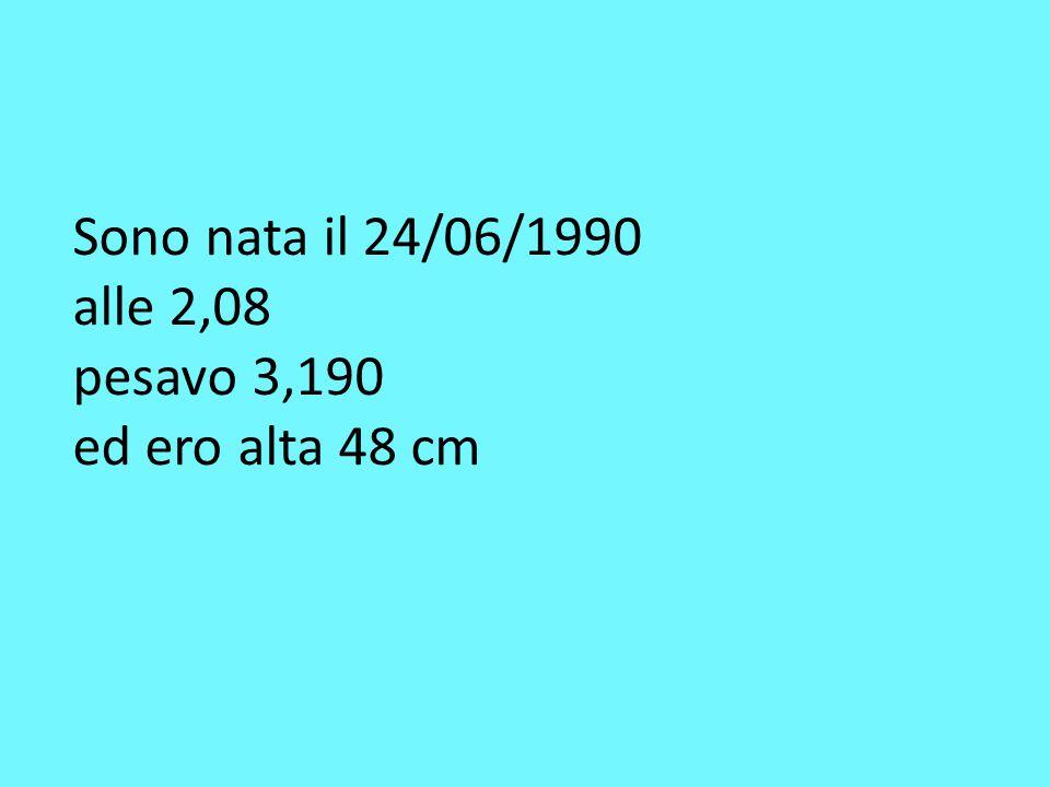 Sono nata il 24/06/1990 alle 2,08 pesavo 3,190 ed ero alta 48 cm