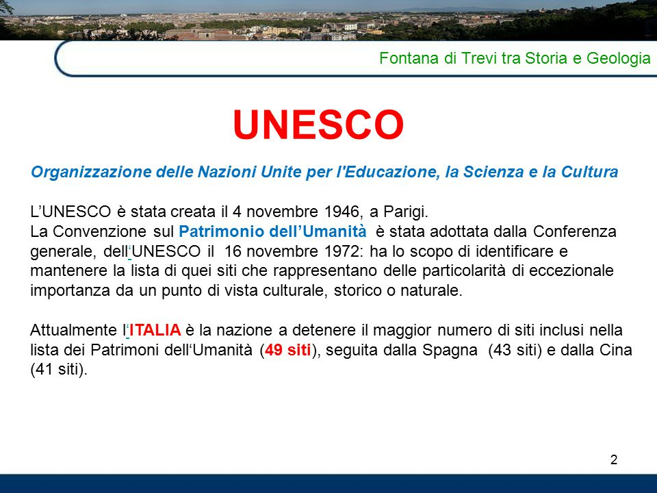 UNESCO Fontana di Trevi tra Storia e Geologia