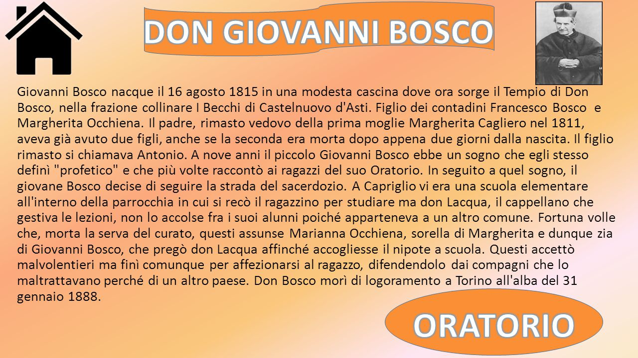 DON GIOVANNI BOSCO ORATORIO