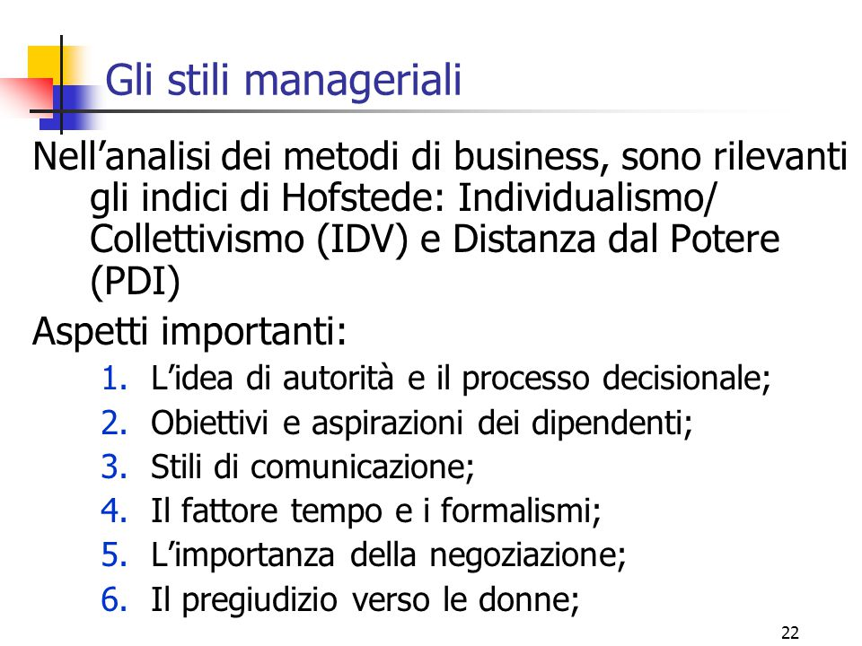 Gli stili manageriali