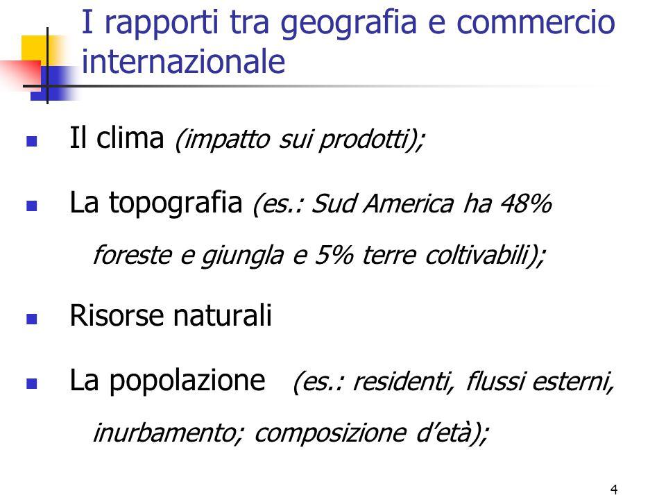 I rapporti tra geografia e commercio internazionale