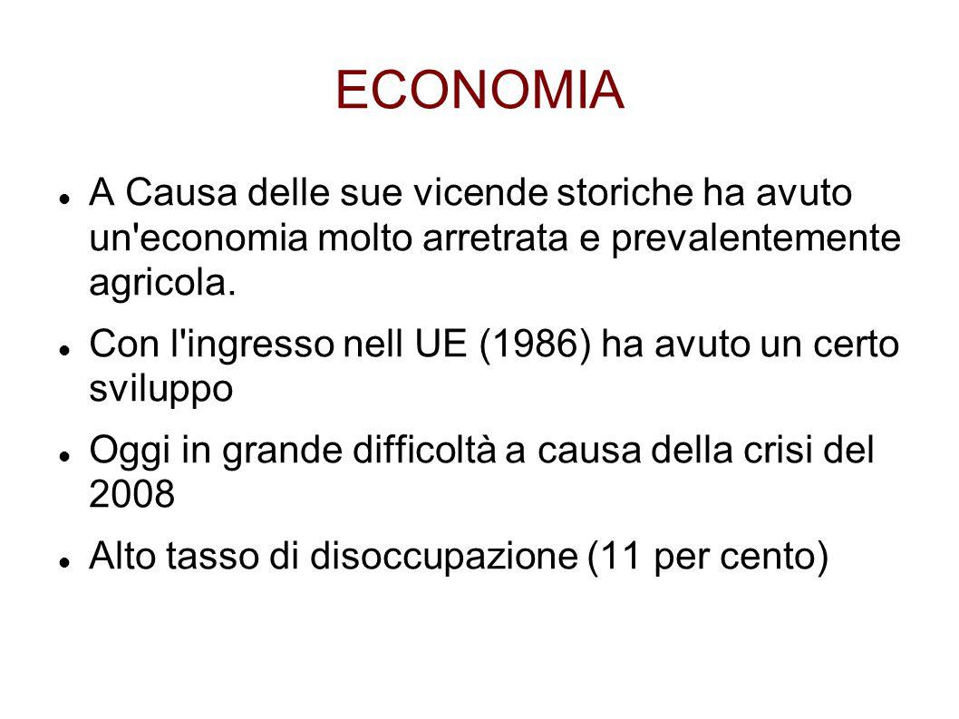ECONOMIA A Causa delle sue vicende storiche ha avuto un economia molto arretrata e prevalentemente agricola.