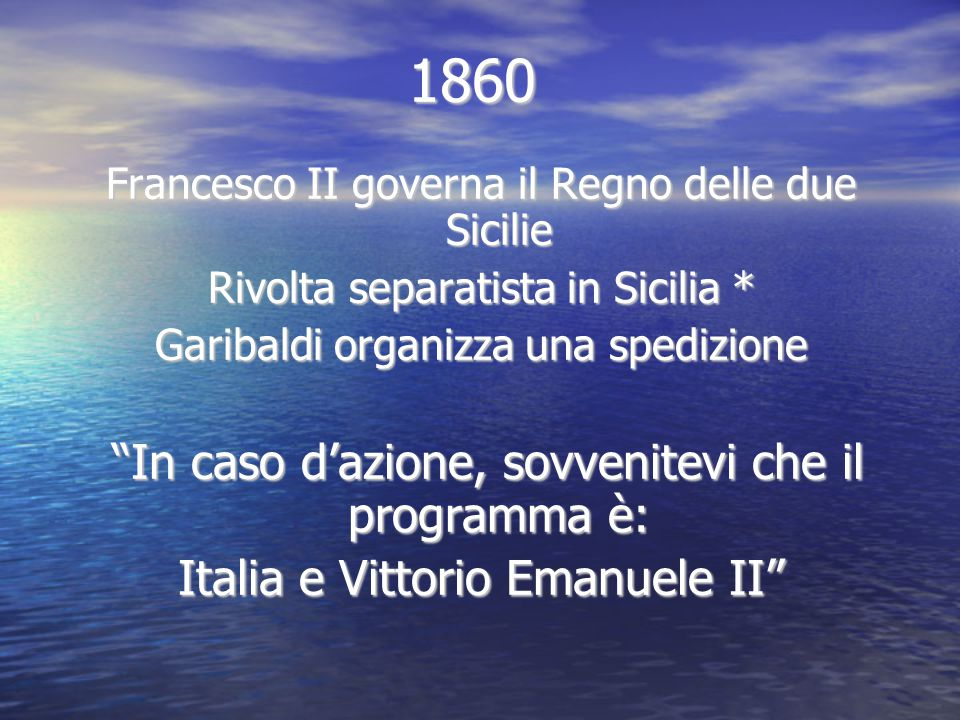 1860 Italia e Vittorio Emanuele II