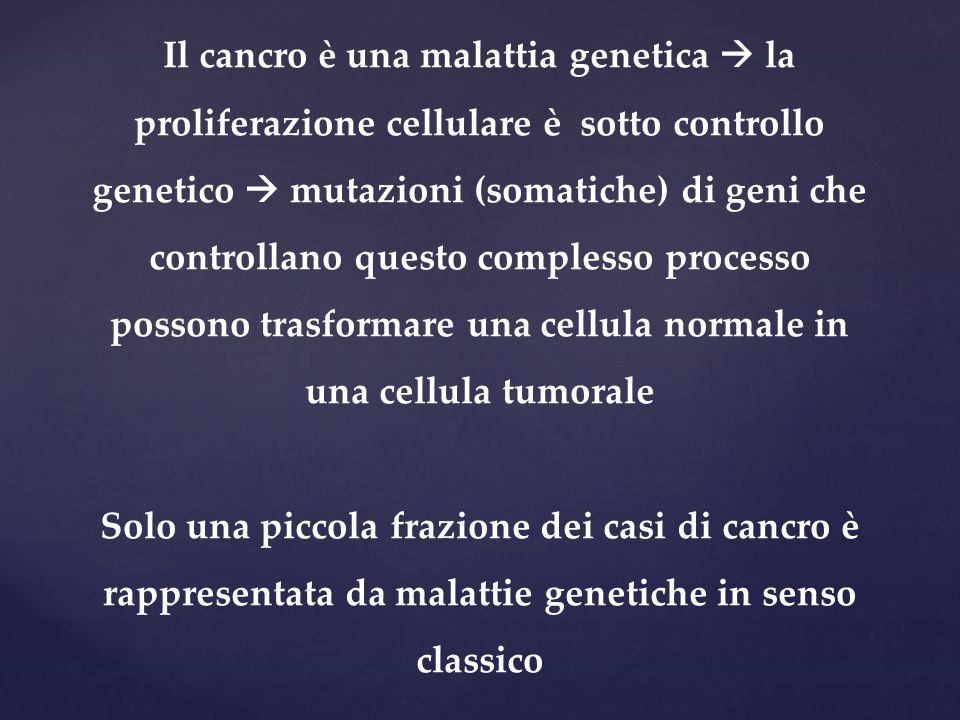 Il cancro è una malattia genetica  la proliferazione cellulare è sotto controllo genetico  mutazioni (somatiche) di geni che controllano questo complesso processo possono trasformare una cellula normale in una cellula tumorale
