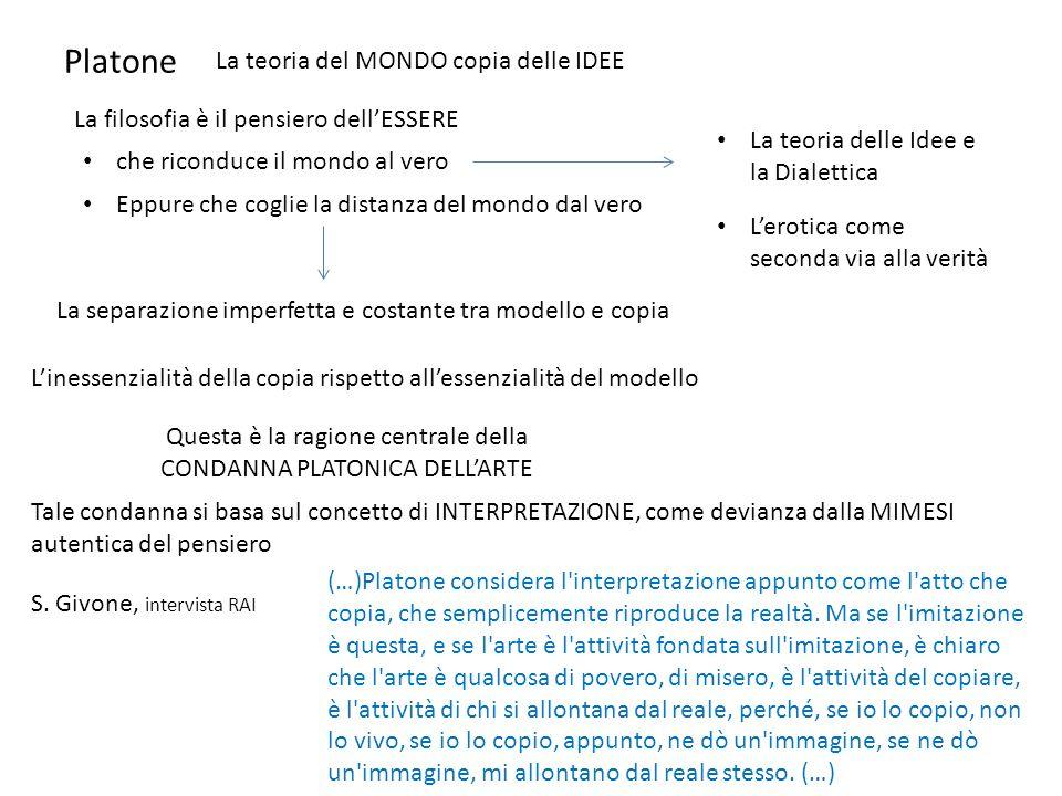 Platone La teoria del MONDO copia delle IDEE