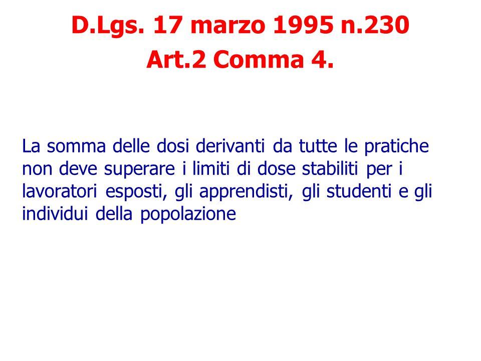 D.Lgs. 17 marzo 1995 n.230 Art.2 Comma 4.