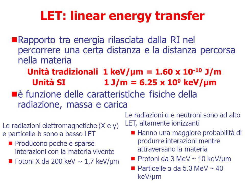 LET: linear energy transfer