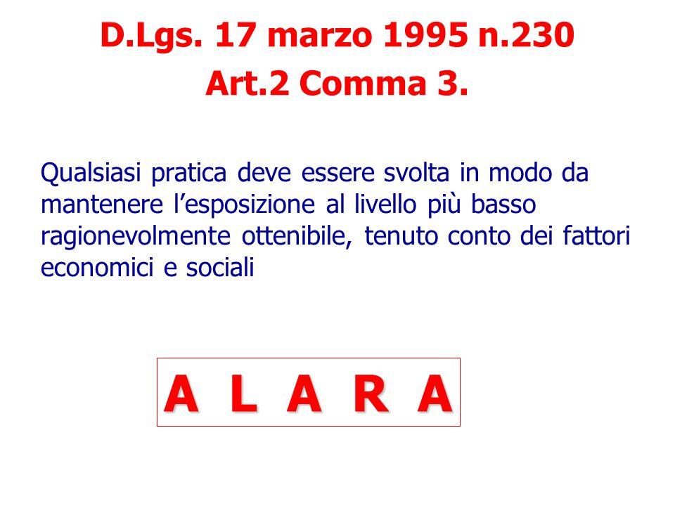 A L A R A D.Lgs. 17 marzo 1995 n.230 Art.2 Comma 3.