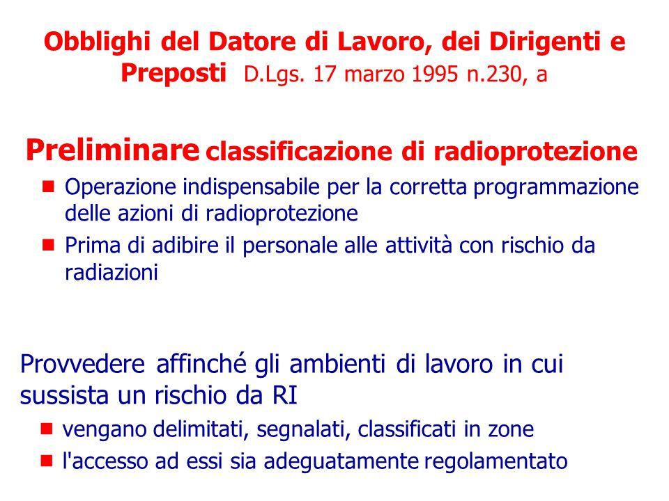 Preliminare classificazione di radioprotezione