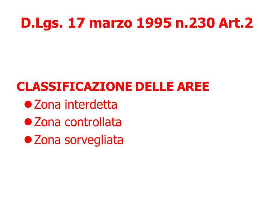 D.Lgs. 17 marzo 1995 n.230 Art.2 CLASSIFICAZIONE DELLE AREE