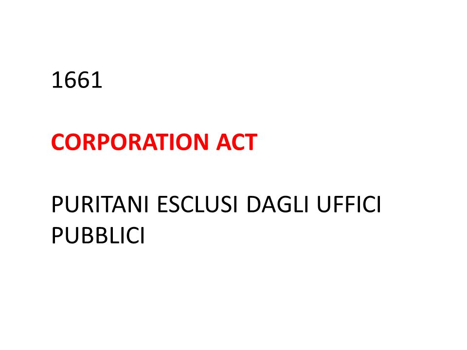 1661 CORPORATION ACT PURITANI ESCLUSI DAGLI UFFICI PUBBLICI
