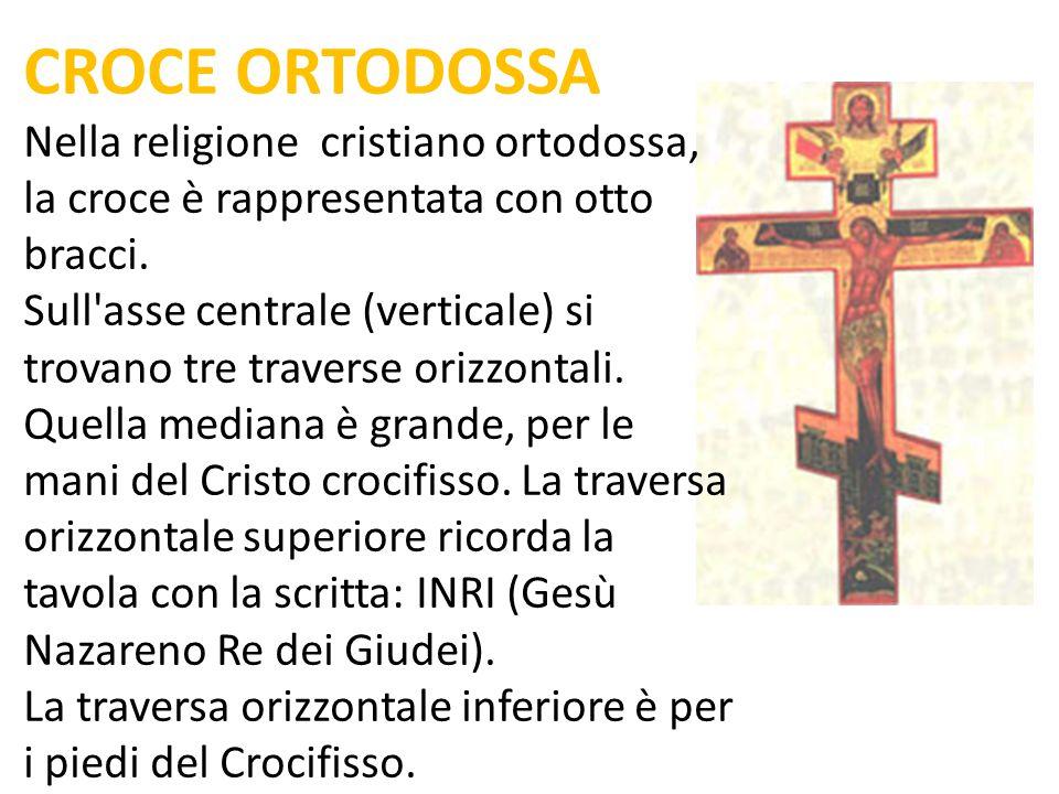 CROCE ORTODOSSA Nella religione cristiano ortodossa, la croce è rappresentata con otto bracci.