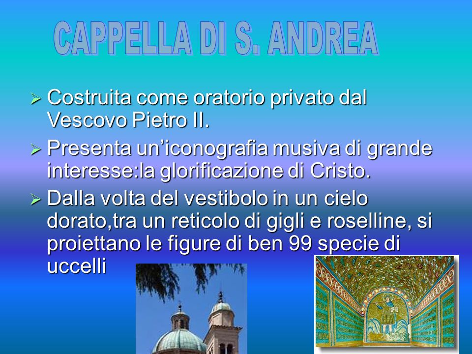 CAPPELLA DI S. ANDREA Costruita come oratorio privato dal Vescovo Pietro II.