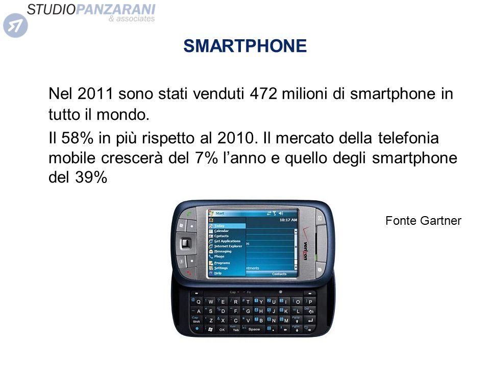 SMARTPHONE Nel 2011 sono stati venduti 472 milioni di smartphone in tutto il mondo.