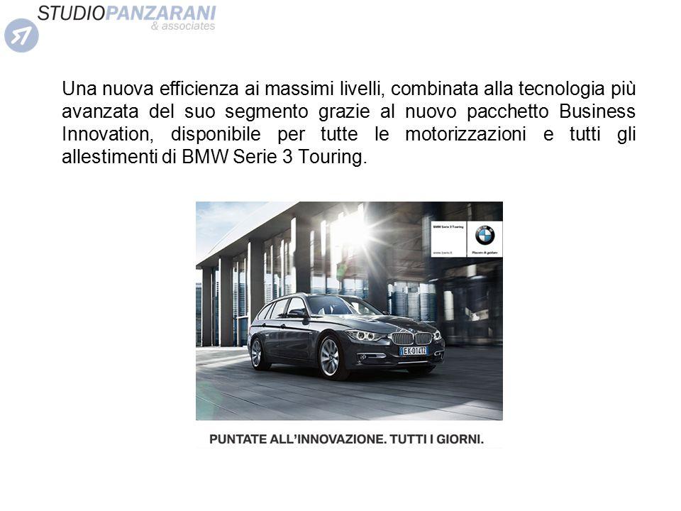 Una nuova efficienza ai massimi livelli, combinata alla tecnologia più avanzata del suo segmento grazie al nuovo pacchetto Business Innovation, disponibile per tutte le motorizzazioni e tutti gli allestimenti di BMW Serie 3 Touring.