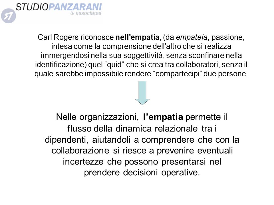 Carl Rogers riconosce nell empatia, (da empateia, passione, intesa come la comprensione dell altro che si realizza immergendosi nella sua soggettività, senza sconfinare nella identificazione) quel quid che si crea tra collaboratori, senza il quale sarebbe impossibile rendere compartecipi due persone.