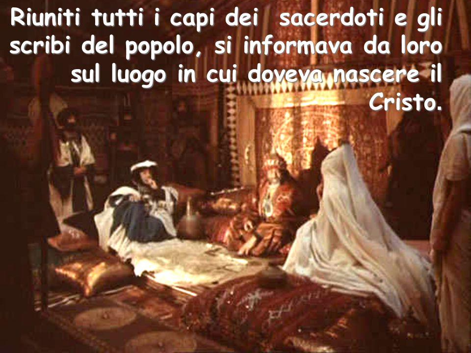 Riuniti tutti i capi dei sacerdoti e gli scribi del popolo, si informava da loro sul luogo in cui doveva nascere il Cristo.