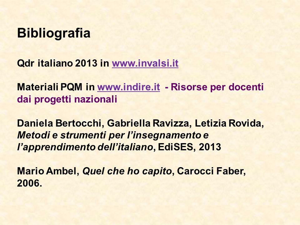 Bibliografia Qdr italiano 2013 in www.invalsi.it