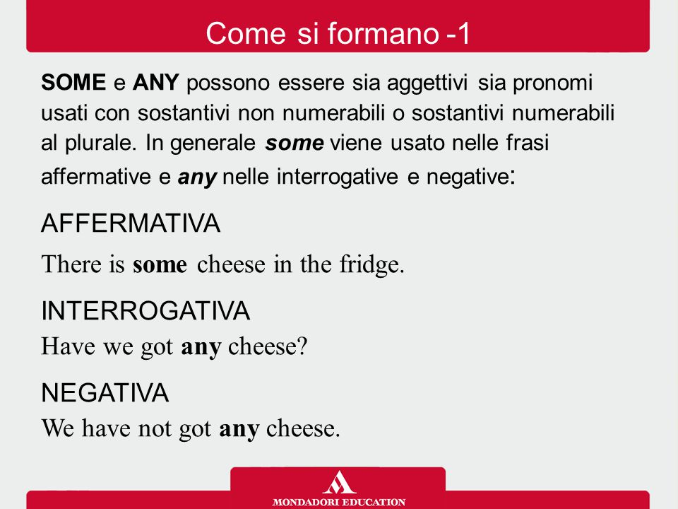Come si formano -1 AFFERMATIVA There is some cheese in the fridge.