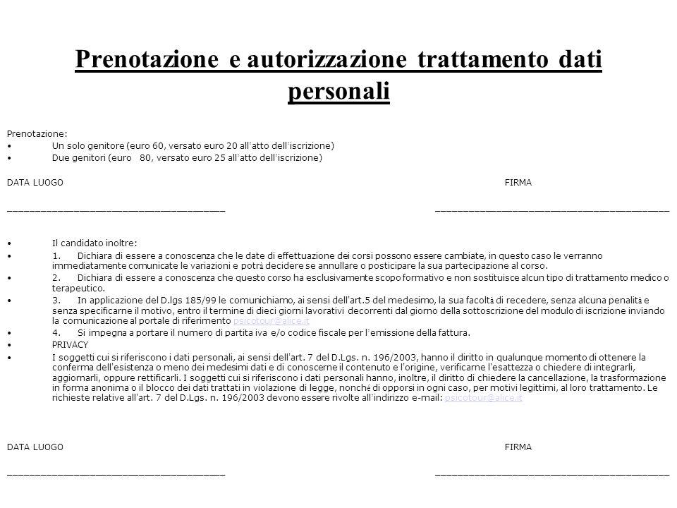 Prenotazione e autorizzazione trattamento dati personali