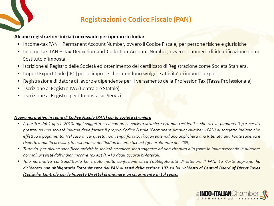 Registrazioni e Codice Fiscale (PAN)