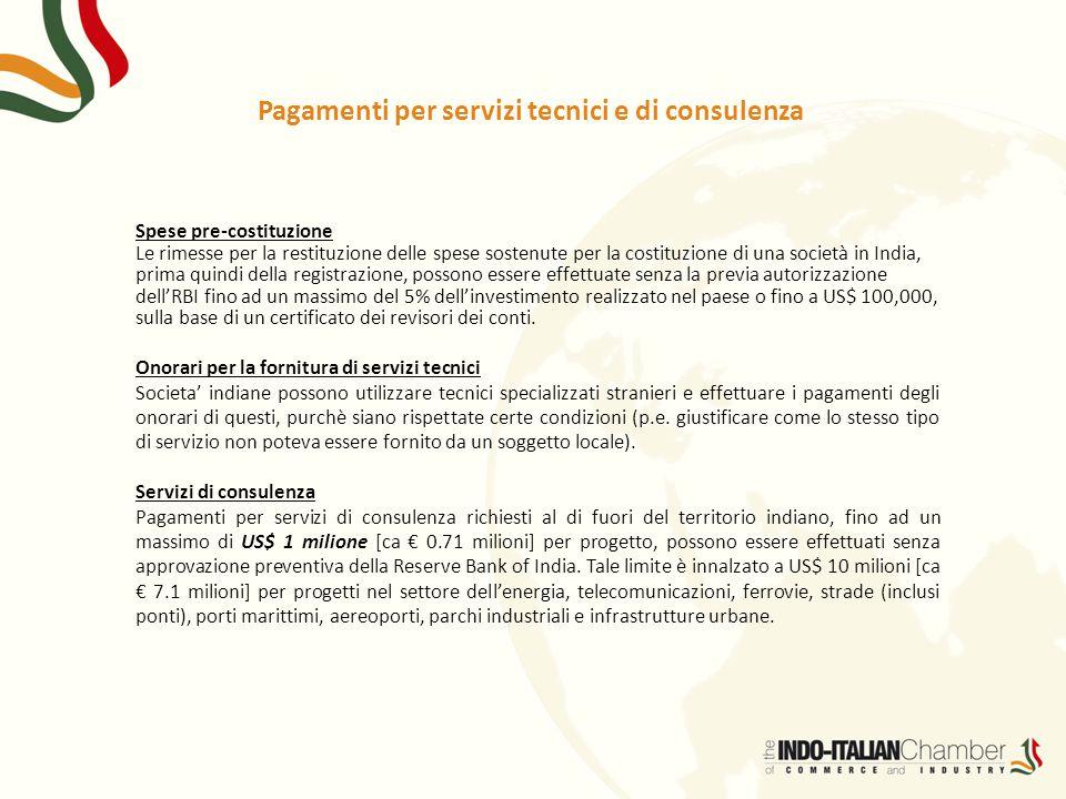 Pagamenti per servizi tecnici e di consulenza