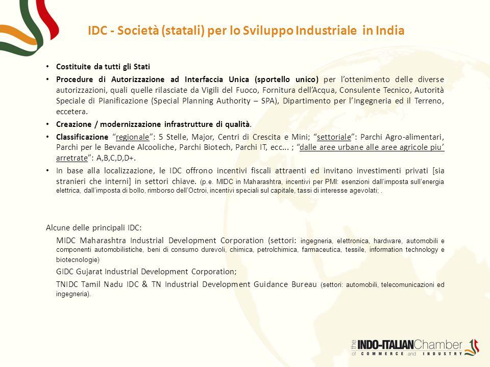 IDC - Società (statali) per lo Sviluppo Industriale in India