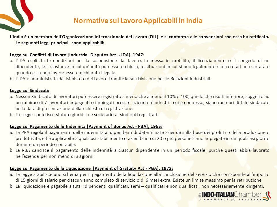 Normative sul Lavoro Applicabili in India