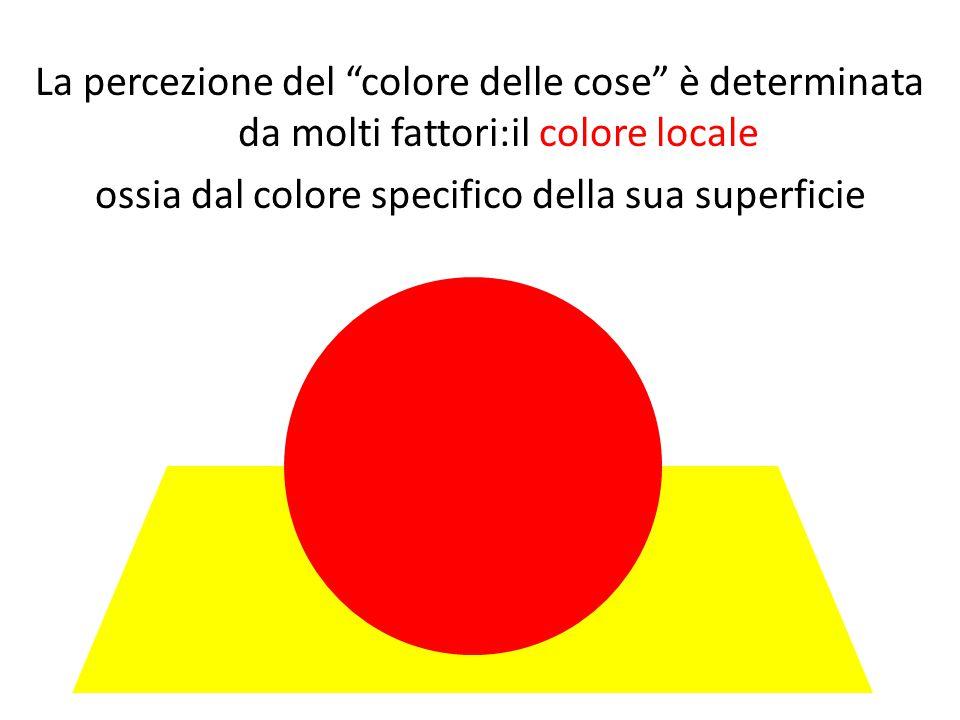La percezione del colore delle cose è determinata da molti fattori:il colore locale ossia dal colore specifico della sua superficie