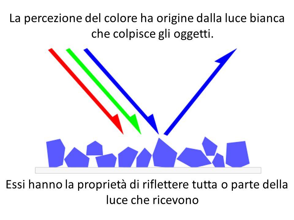 La percezione del colore ha origine dalla luce bianca che colpisce gli oggetti.