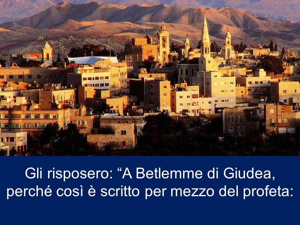 Gli risposero: A Betlemme di Giudea, perché così è scritto per mezzo del profeta: