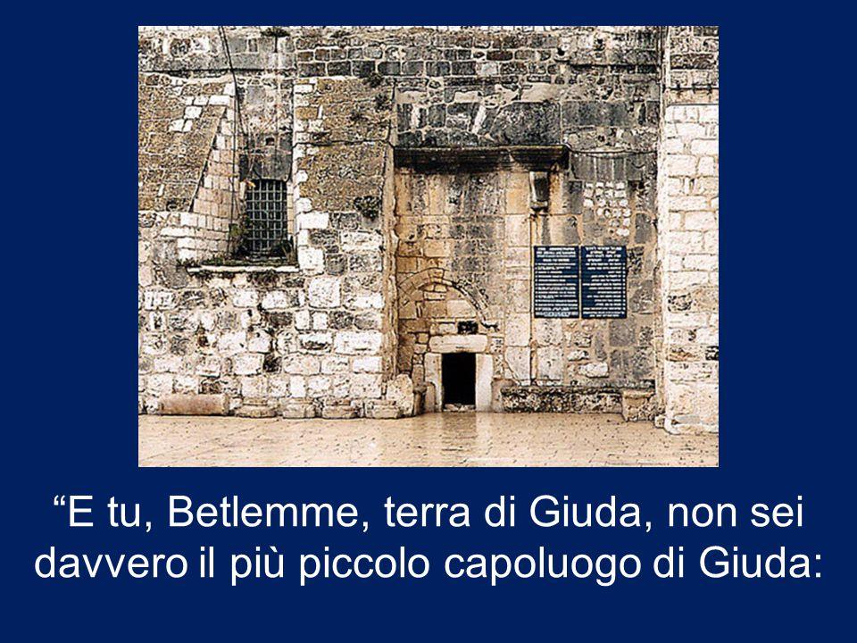 E tu, Betlemme, terra di Giuda, non sei davvero il più piccolo capoluogo di Giuda: