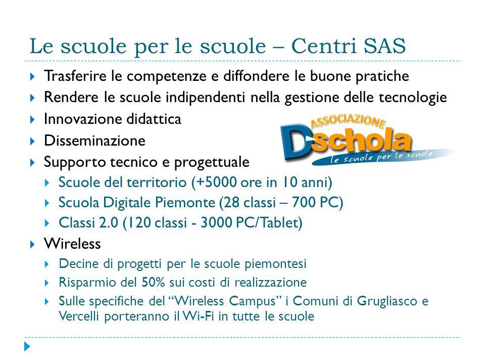 Le scuole per le scuole – Centri SAS