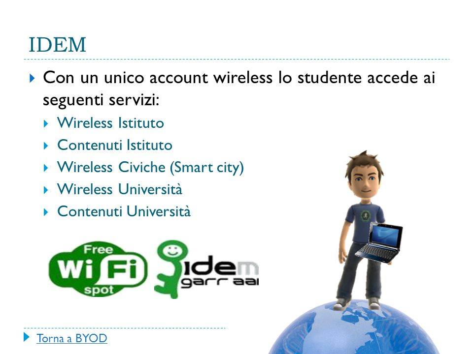 IDEM Con un unico account wireless lo studente accede ai seguenti servizi: Wireless Istituto. Contenuti Istituto.