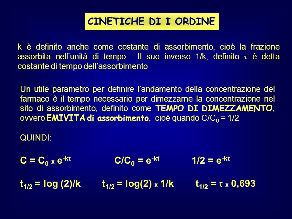 C = C0 x e-kt C/C0 = e-kt 1/2 = e-kt