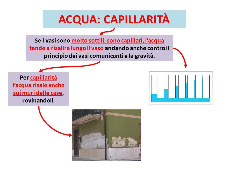 Per capillarità l'acqua risale anche sui muri delle case, rovinandoli.