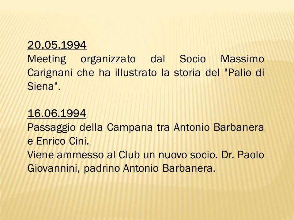 20.05.1994 Meeting organizzato dal Socio Massimo Carignani che ha illustrato la storia del Palio di Siena .