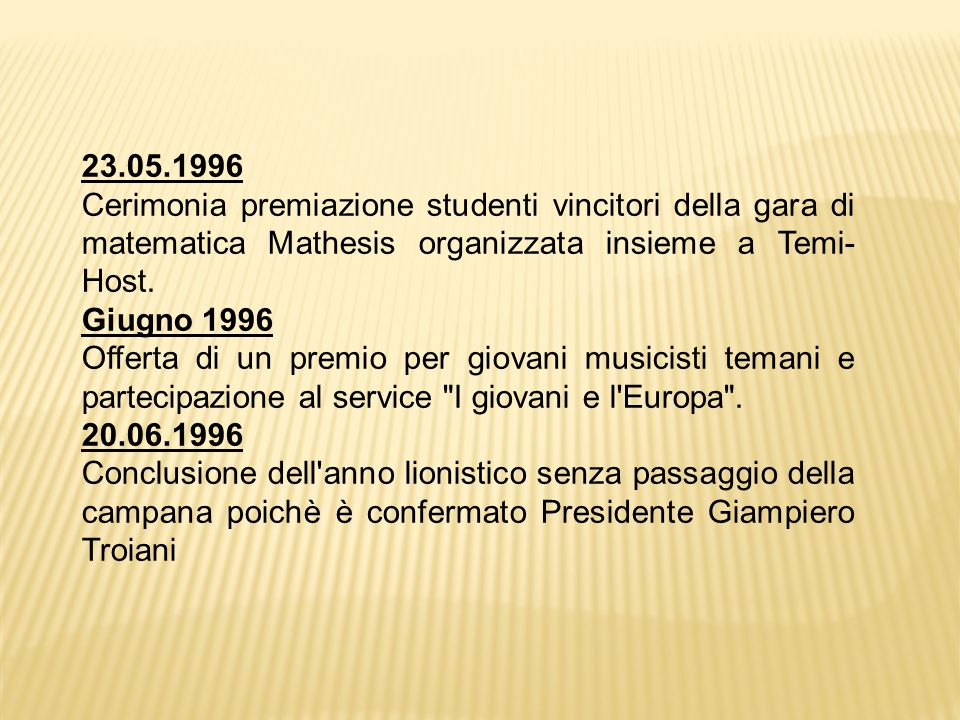23.05.1996 Cerimonia premiazione studenti vincitori della gara di matematica Mathesis organizzata insieme a Temi-Host.