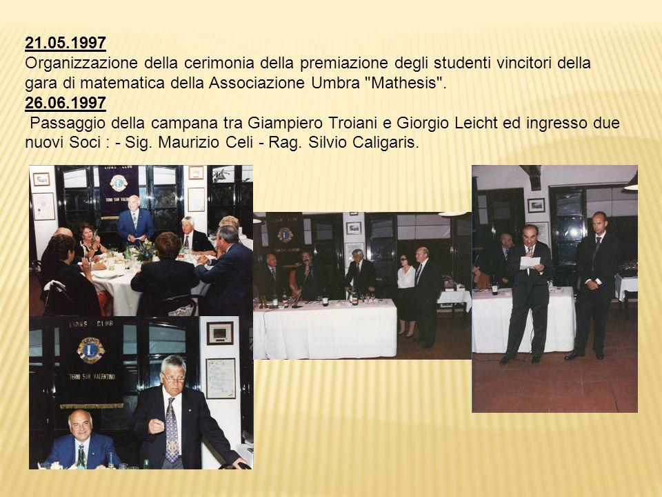 21.05.1997 Organizzazione della cerimonia della premiazione degli studenti vincitori della gara di matematica della Associazione Umbra Mathesis .