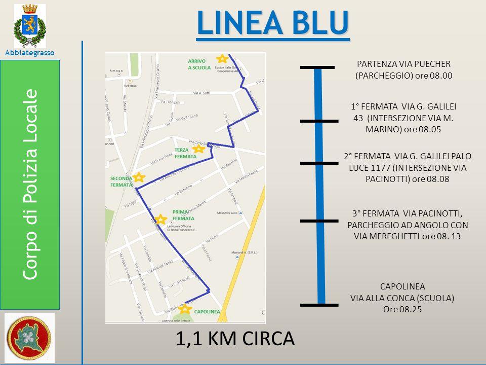LINEA BLU 1,1 KM CIRCA Corpo di Polizia Locale
