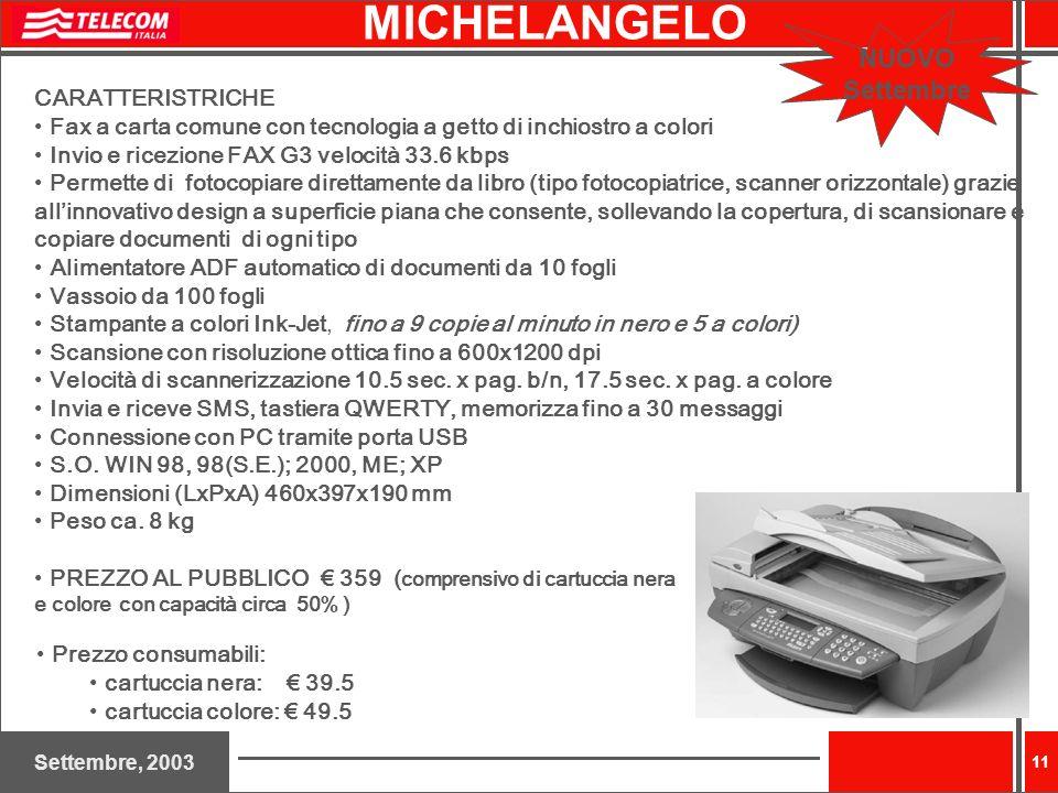 MICHELANGELO NUOVO Settembre CARATTERISTRICHE