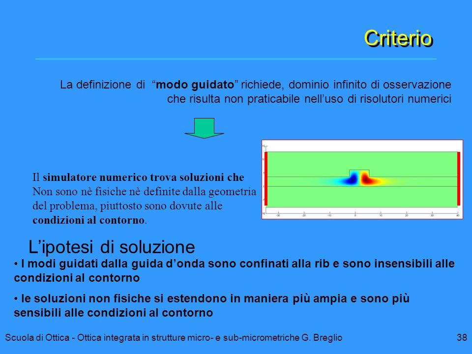 Criterio L'ipotesi di soluzione